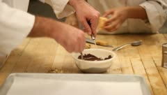 Making chocolate desserts Stock Footage