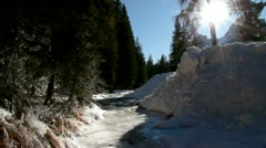 Winter landscape with frozen river and the sound of water Stock Footage