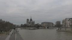 Timelapse of Cathedral Notre Dame de Paris and Île de la Cité Stock Footage