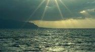 Sunset ocean sun rays slow motion Stock Footage