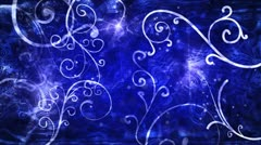 Blue flourishes loop background Stock Footage