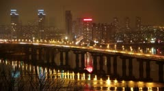Time lapse: Paton Bridge in Kiev, Ukraine Stock Footage