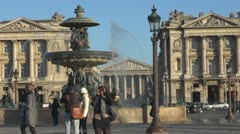 Place de la Concorde, Fontaines, The Madeleine church paris tourism tourist  Stock Footage