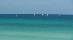 Boats Sailing Caribbean Coast Stock Footage