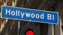 Hollywood Bl Sign in Los Angeles Stock Footage