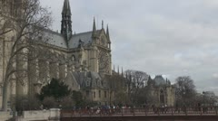 Beautiful Notre Dame Cathedral in Paris church attraction religion french Stock Footage