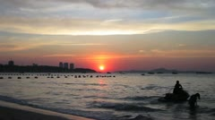 Pattaya Sunset with Jet Ski Stock Footage