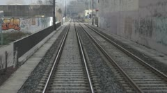 Tramway on tracks Stock Footage