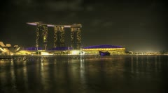 Singapore Marina Bay at night Stock Footage