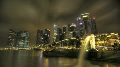 Timelapse Merlion with Skyline Stock Footage