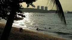 Family at Pattaya Beach at Sunset Stock Footage
