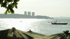Pattaya Beach with Jet Ski Stock Footage