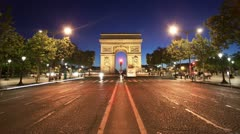 Paris timelapse - arc de triomphe at dusk - stock footage