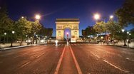 Stock Video Footage of Paris timelapse - arc de triomphe at dusk