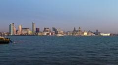 Mersey ferry, Liverpool skyline Stock Footage