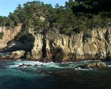 Dramatic Ocean Coastline with Monterey Cypress Trees GFSD Stock Footage