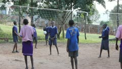 African School Children Play Volleyball. Stock Footage