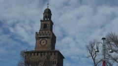 Tower of Sforza Castle, Milan, Italy Stock Footage