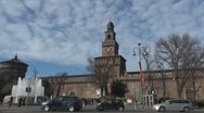 Timelapse of Sforza Castle and traffic car, Milan, Italy Stock Footage