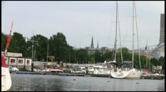 Stock Video Footage of Small yachts moored at the city wharf
