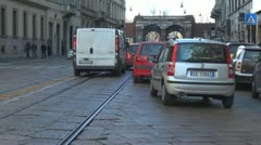 Stock Video Footage of Car traffic in old town Milan, Italy