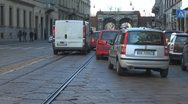 Car traffic in old town Milan, Italy Stock Footage