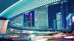 Time lapse video of light trails of city traffic in shanghai, china. loopable Stock Footage