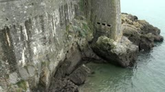 Ancient Coastal Defence Wall Stock Footage