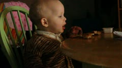 One year old and his dipping sauce Stock Footage