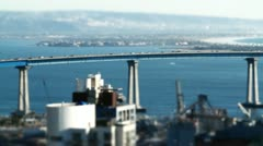 Tilt Shift Effect Downtown San Diego: Coronado Bridge Stock Footage