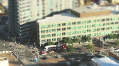 Tilt Shift Effect Downtown San Diego Bus and Trolley - stock footage