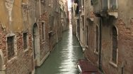 Venice Canal in the Rain Stock Footage