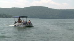 Pontoon boat with a canopy (1 of 2) - stock footage