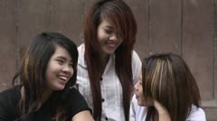 Group of young Asian women chatting in school Stock Footage