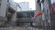 Stock Video Footage of European Parliament, Brussels, Belgium