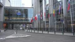 European Parliament, Brussels, Belgium Stock Footage