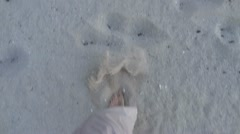 Footsteps In Beach Sand POV Stock Footage