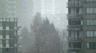 Stock Video Footage of City Snowing, Close Up