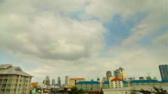 Fast Clouds above Bangkok City Skyline daytime in HDR Stock Footage
