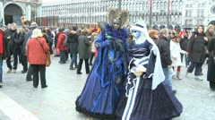 Masked couple in Venice on Carnival - stock footage