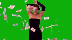 Elegant Girl Dancing, Money Falling Stock Footage