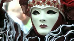 Disguised couple in venice on carnival Stock Footage