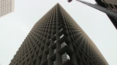 1950's Style Financial Building, Low Angle Static Shot Stock Footage