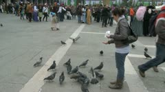 Feeding pigeons on St. Mark's Square in Venice Stock Footage
