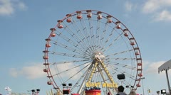 Big Fairground Carnival Wheel in Daylight HD File Stock Footage