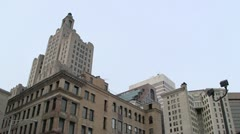 Stock Video Footage of Financial District Skyline Low Angle