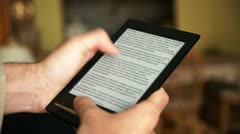 E-book Reader Being Used Stock Footage