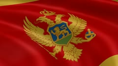 Montenegrin flag in the wind Stock Footage
