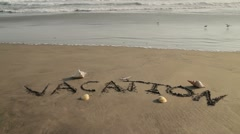 Vacation Sand Text Waves on Background Stock Footage
