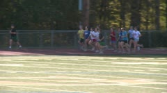 Girls track team at practice (1 of 5) Stock Footage
